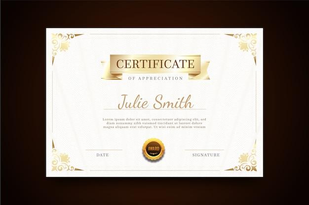 Certificado com modelo elegante de quadro Vetor grátis