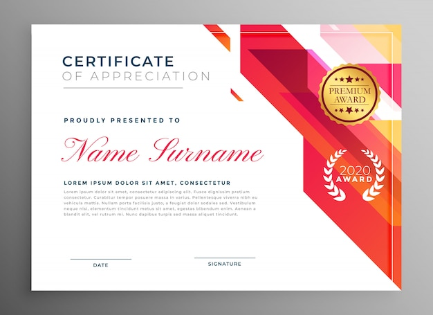 Certificado criativo de apreciação em estilo abstrato Vetor grátis