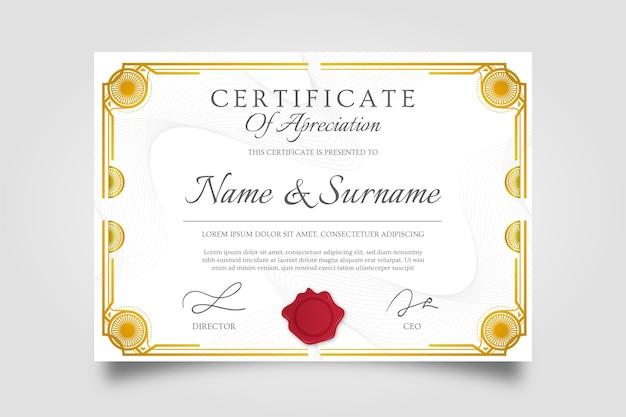 Certificado criativo de moldura dourada de prêmio de agradecimento Vetor grátis