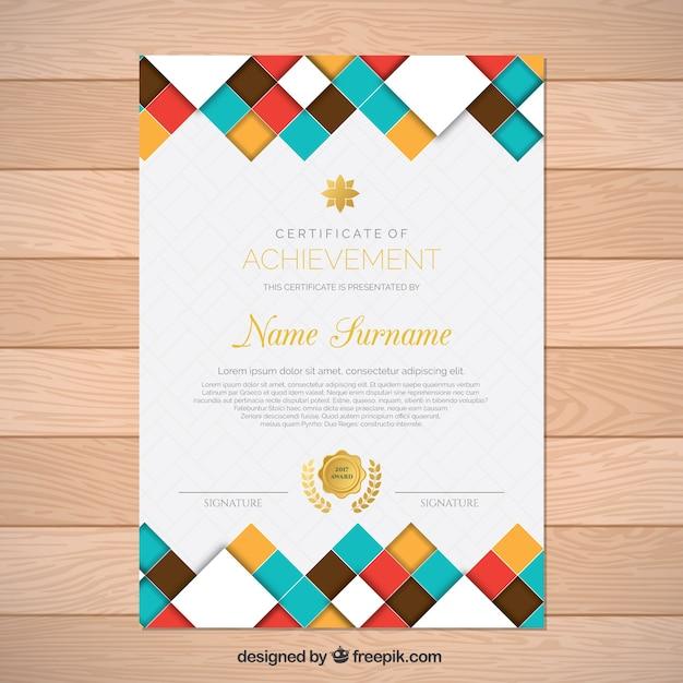 Certificado da realização com formas coloridas Vetor grátis