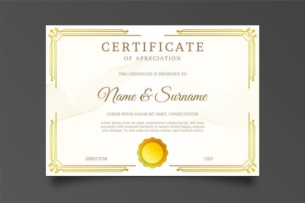Certificado de agradecimento com moldura dourada e sol de arco Vetor grátis