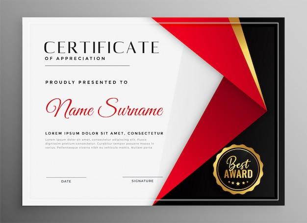 Certificado de apreciação design de modelo de tema vermelho de luxo Vetor grátis