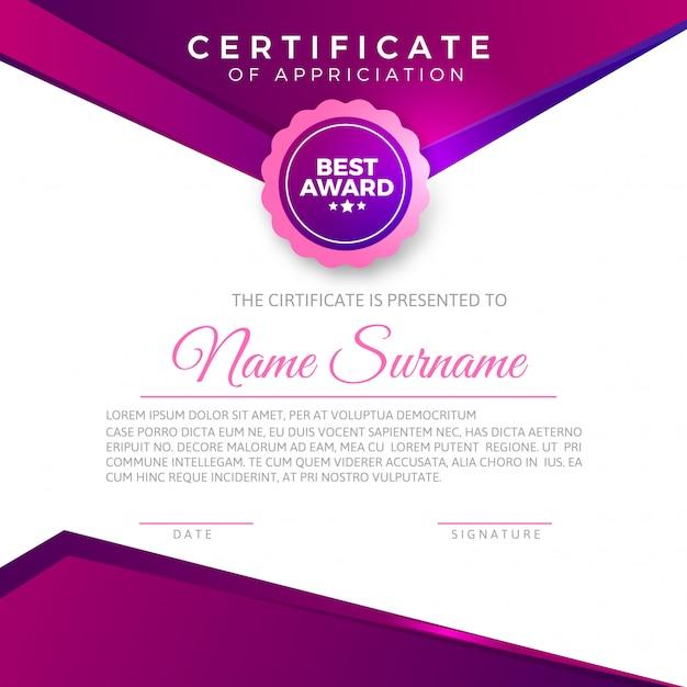 Certificado de apreciação elegante Vetor Premium