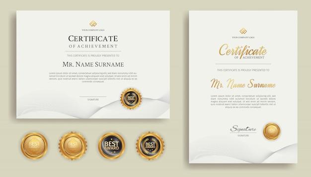 Certificado de arte linha ouro de modelo de fronteira de conquista Vetor Premium