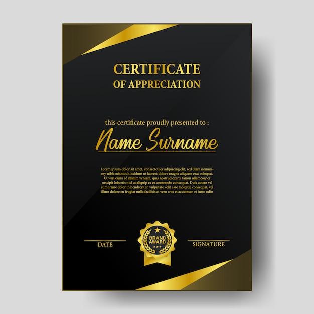 Certificado de beleza com modelo de emblema de medalha de prêmio de marca dourada Vetor Premium