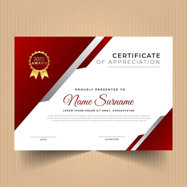 Certificado de design de modelo de conquista com cores vermelhas Vetor Premium