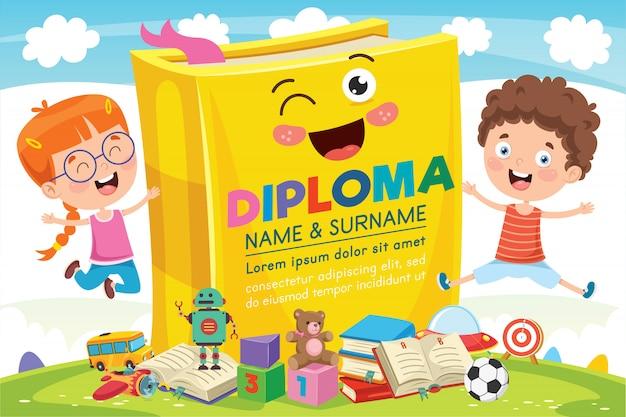 Certificado de diploma de crianças prées-escolar do ensino fundamental Vetor Premium