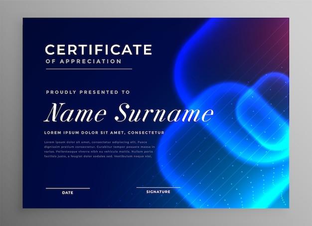 Certificado de inovação de estilo de tecnologia azul de apreciação Vetor grátis