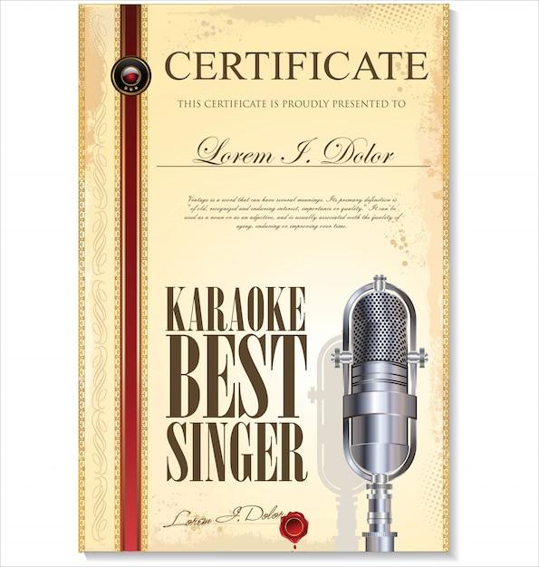 Certificado de karaokê Vetor Premium