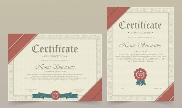 Certificado de modelo de agradecimento com borda de ouro vintage - vector Vetor Premium