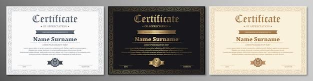 Certificado de modelo de agradecimento com borda de ouro vintage Vetor Premium
