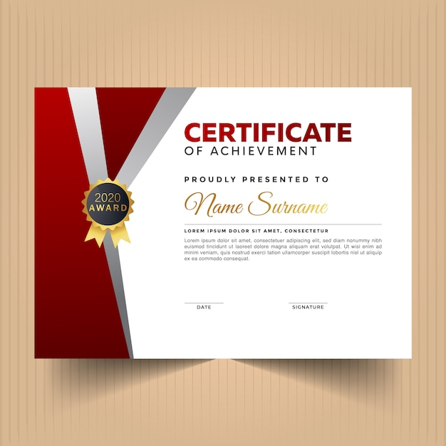 Certificado de modelo de design de apreciação com cores vermelhas e brancas Vetor Premium