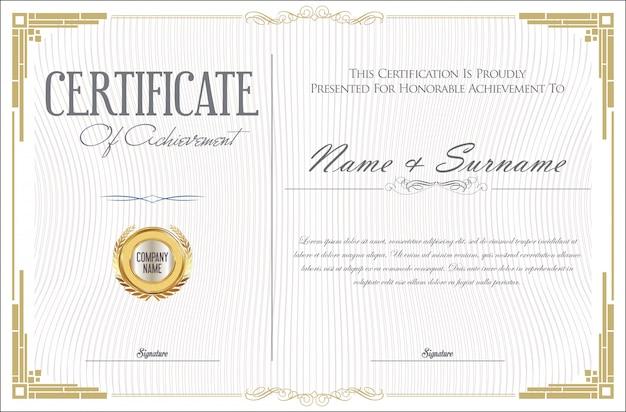 Certificado de modelo de design retro de conquista Vetor Premium