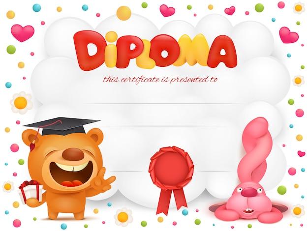 Certificado de modelo de diploma com ursinho de pelúcia e personagens de desenhos animados de coelho rosa. Vetor Premium