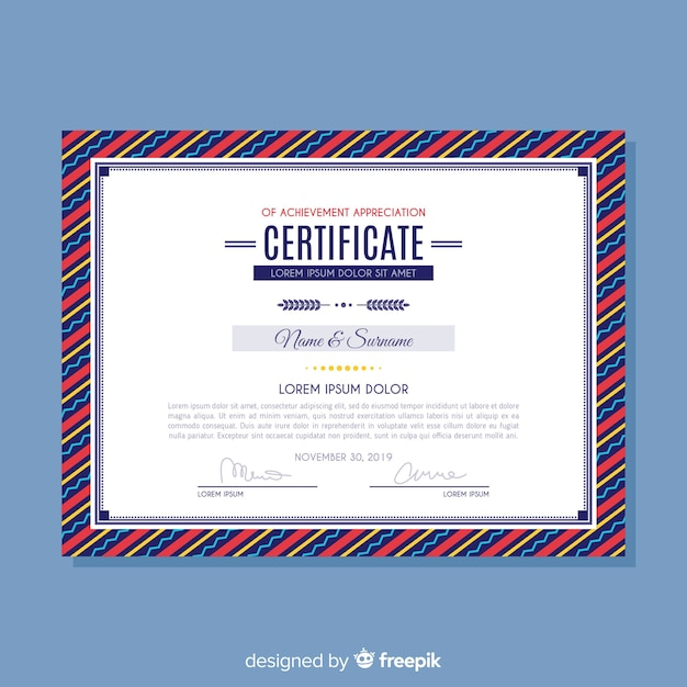 Certificado de modelo de realização Vetor grátis