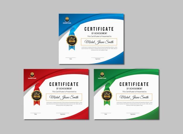 Certificado de modelo de realização Vetor Premium