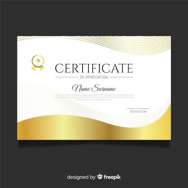Certificado de ouro de agradecimento Vetor grátis