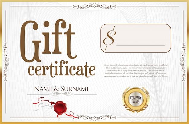 Certificado de presente com selo dourado e borda de design Vetor Premium