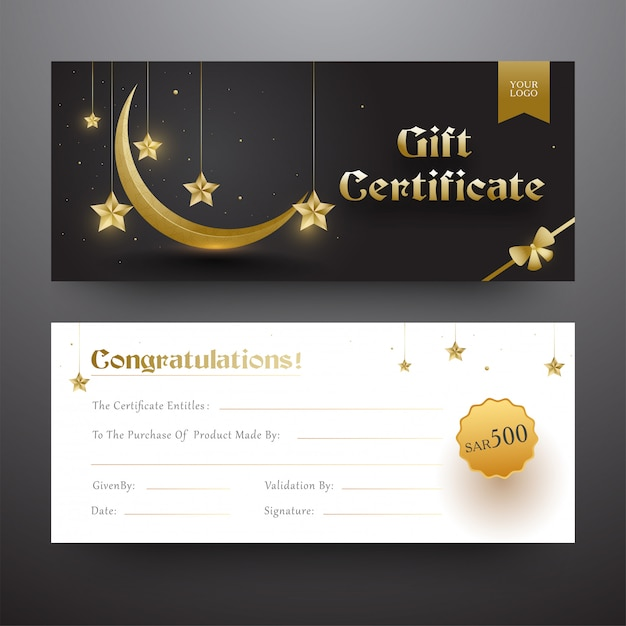 Certificado de presente ou layout de comprovante na frente e verso fonte com g Vetor Premium