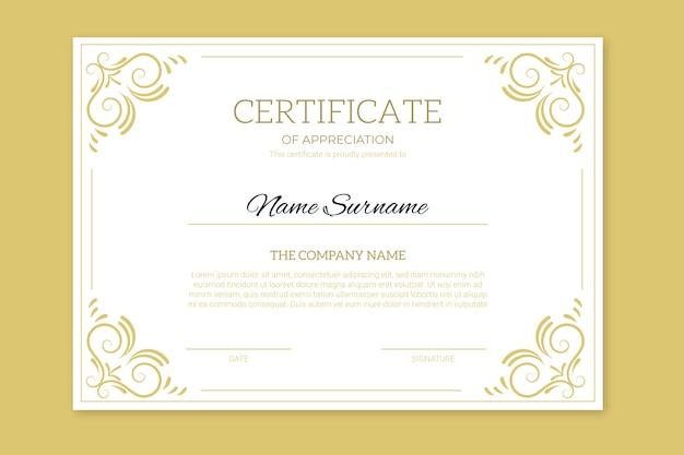 Certificado de realização com molduras douradas Vetor grátis