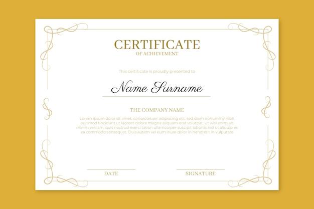 Certificado de realização com molduras elegantes Vetor grátis