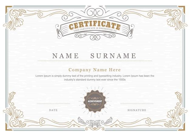 Certificado de realização elegante floresce vintage antigo quadro Vetor Premium