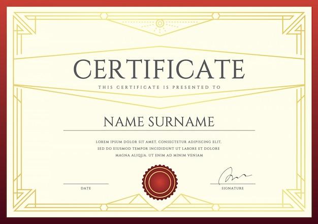 Certificado de vetor ou modelo de diploma pronto para impressão Vetor Premium