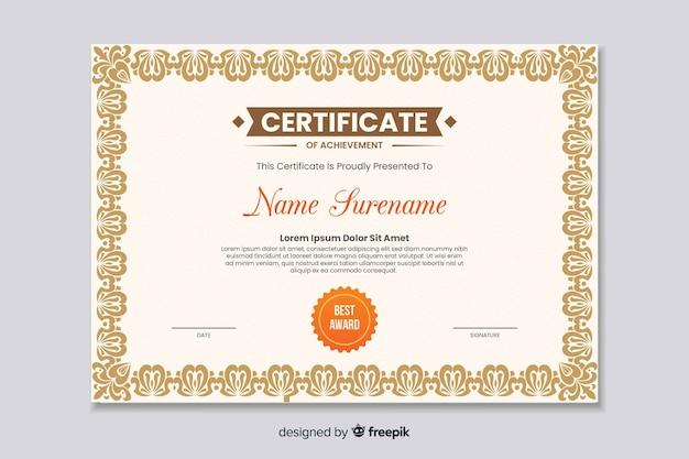 Certificado educacional plano de realização Vetor grátis