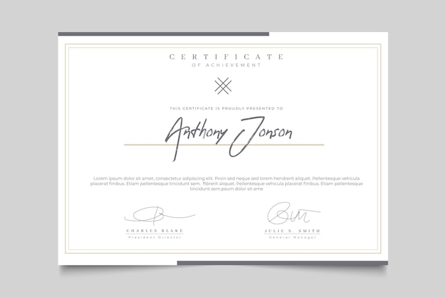 Certificado elegante com moldura Vetor grátis