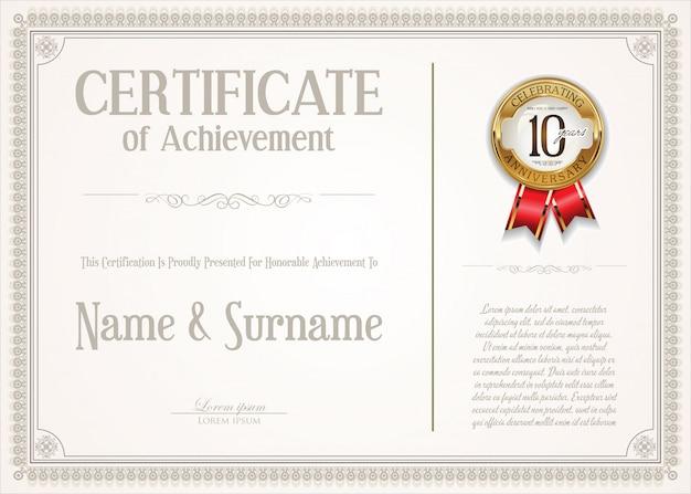Certificado elegante ou diploma vintage design retro Vetor Premium