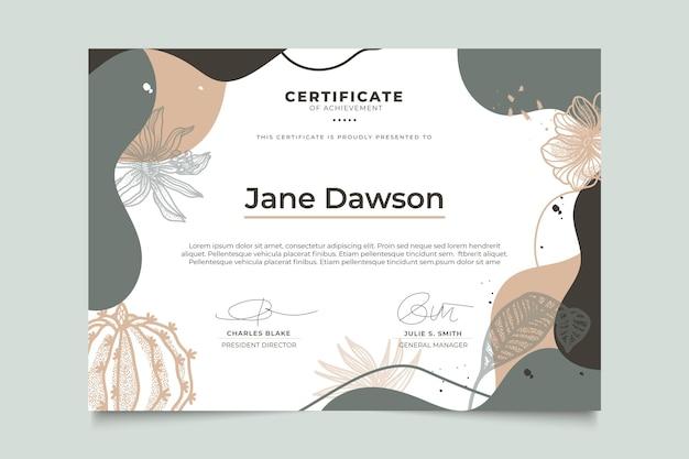Certificado floral com modelo de folhas Vetor grátis