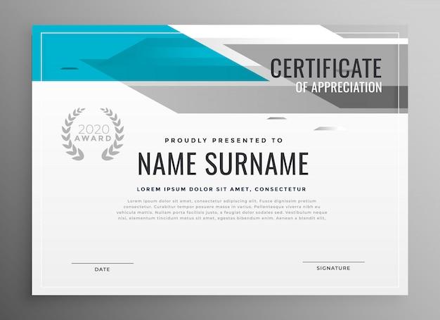 Certificado geométrico moderno de modelo de agradecimento Vetor grátis