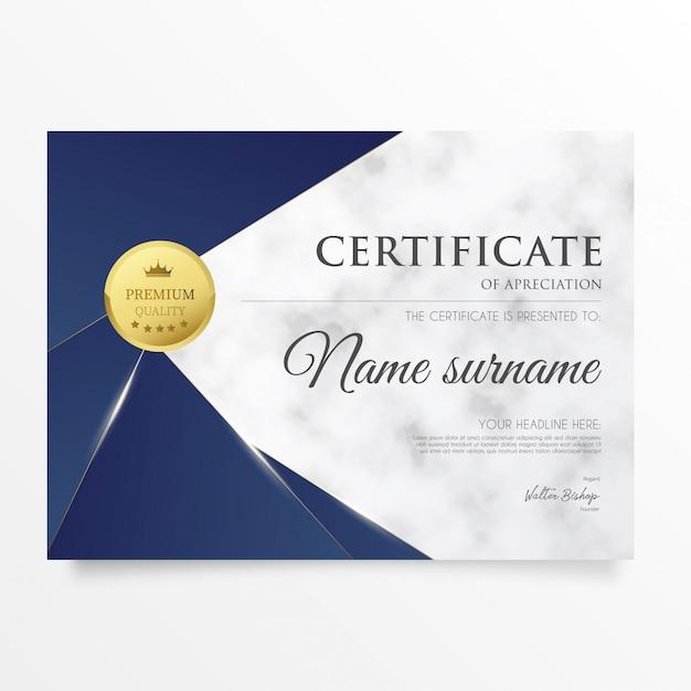 Certificado moderno com fundo de mármore Vetor grátis