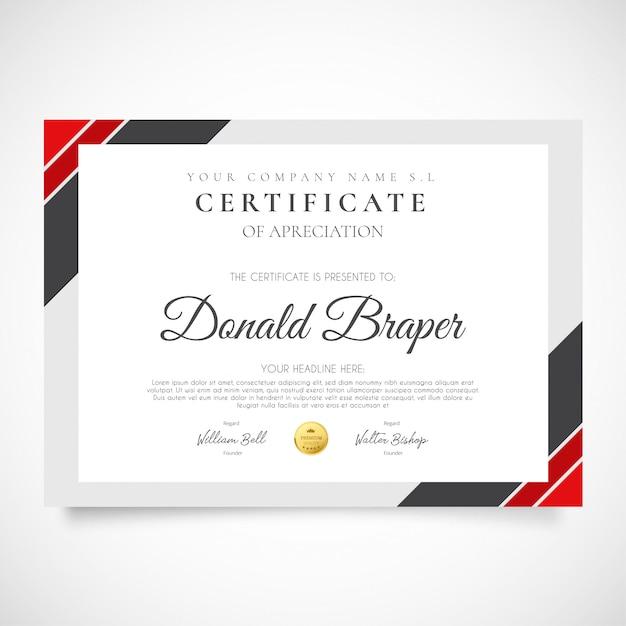 Certificado moderno de apreciação Vetor grátis