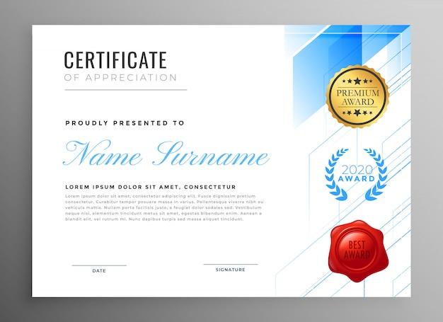 Certificado moderno de design de modelo de agradecimento Vetor grátis
