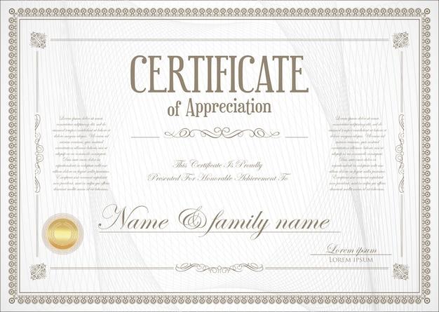 Certificado ou diploma design retro Vetor Premium