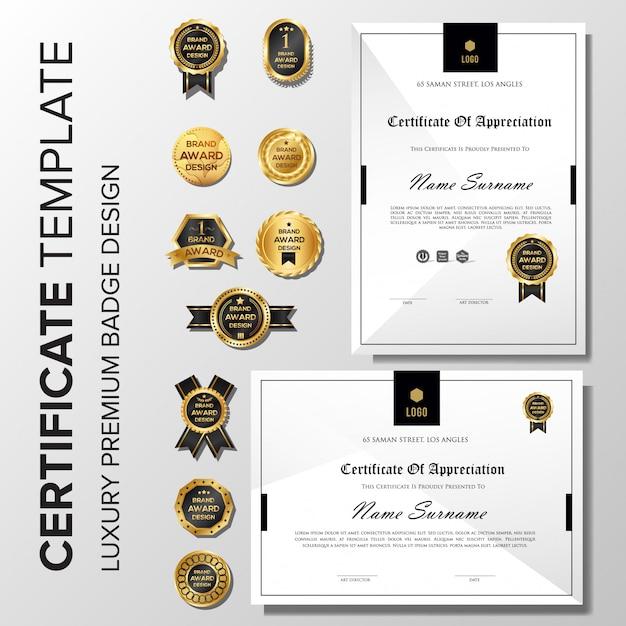 Certificado profissional minimalista com distintivo Vetor Premium