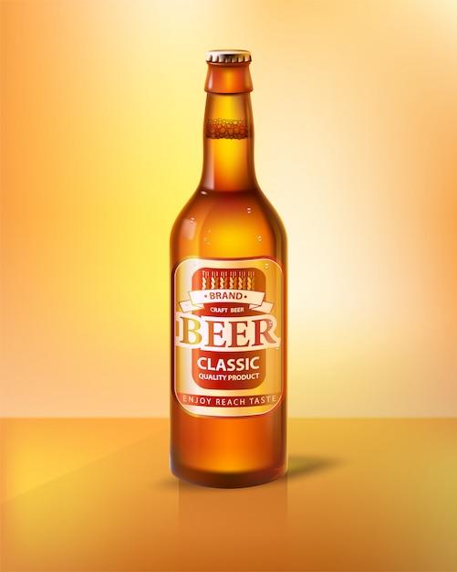 Cerveja artesanal em garrafa com tampa realista 3d Vetor Premium