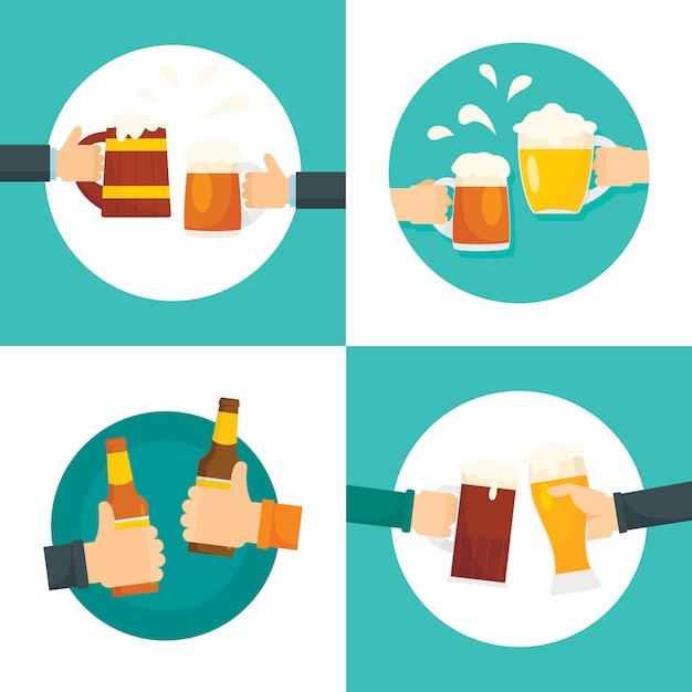 Cerveja cheers garrafas de vidro Vetor Premium