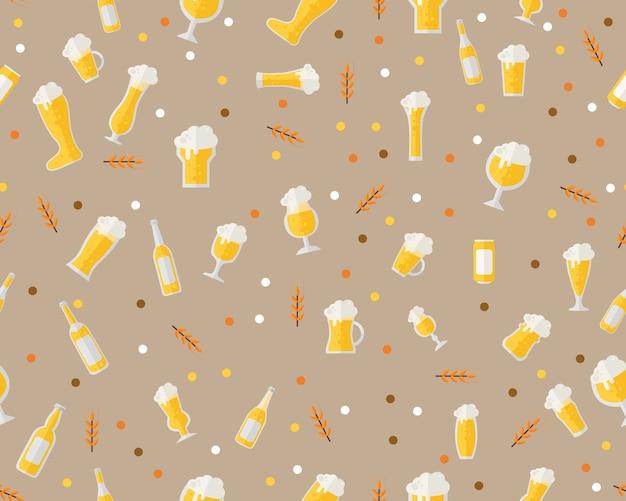 Cerveja de padrão de textura plana sem costura vector. Vetor Premium