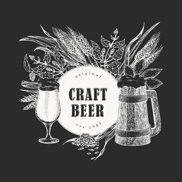 Cerveja de vetor. mão desenhadas ilustrações no quadro de giz. cerveja vintage Vetor Premium