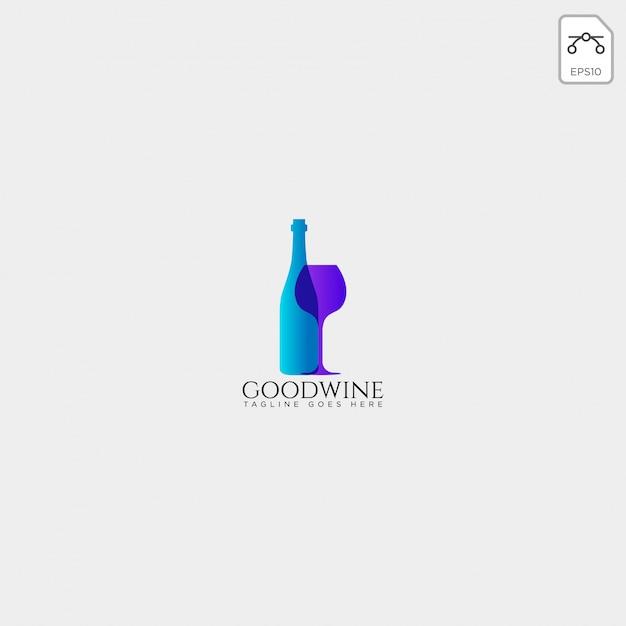 Cerveja de vidro e garrafa modelo de logotipo criativo, elemento de ícone Vetor Premium