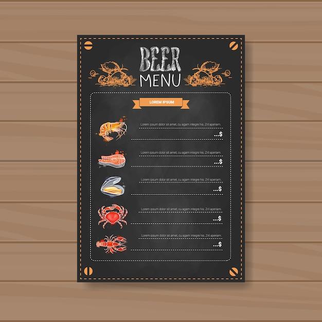 Cerveja e mar de comida menu design para restaurante café pub risquei Vetor Premium