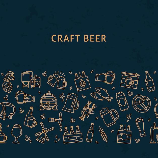 Cerveja escura sem costura padrão horizontal de ícones desenhados à mão no tema da cerveja. ícones lisos desenhados à mão no padrão. Vetor Premium
