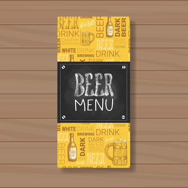 Cerveja menu design para restaurante café pub risquei Vetor Premium