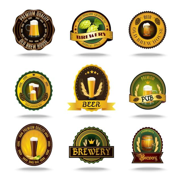 Cerveja rótulos antigos conjunto de cores de ícones Vetor grátis