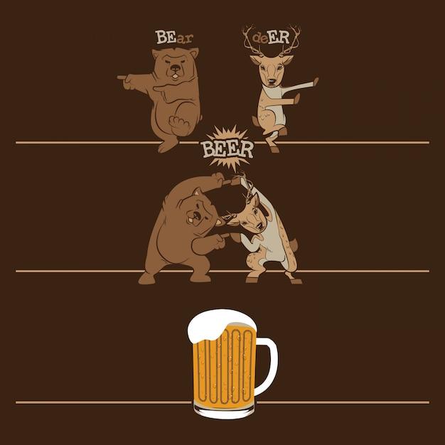 Cerveja, urso de fusão e veado Vetor Premium