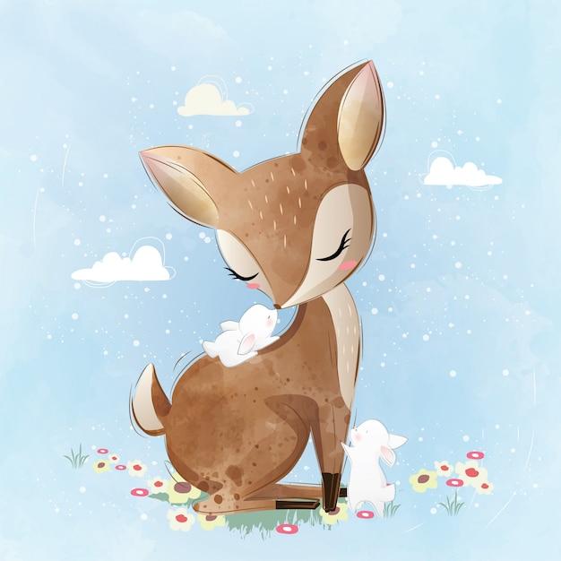 Cervo bonito e seus amigos de coelho Vetor Premium