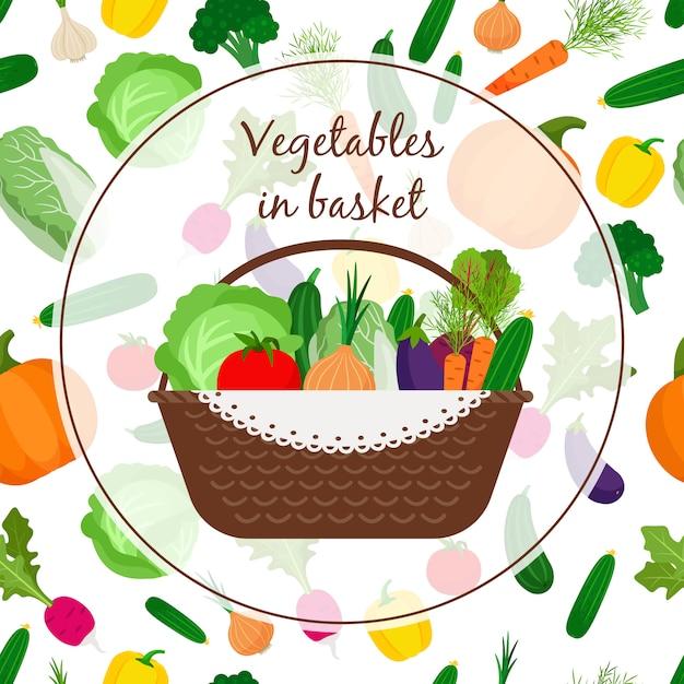 Cesta com legumes Vetor Premium