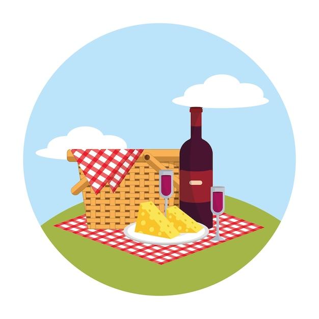 Cesta com vinho e vidro na decoração da toalha de mesa Vetor Premium